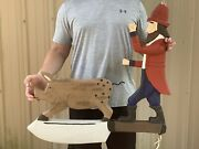 Bryan Mcnutt Folk Art Wood Going To Market French Butcher Sign Pig And Man Rare