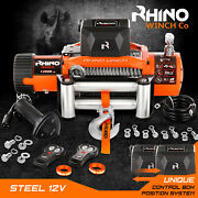 Electric Recovery Winch - 12v 13500lb - Heavy Duty Steel Cable 4x4 Car Rhino