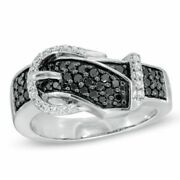 0.50 Cttw Natural Diamond Buckle Band Ring 10k White Gold