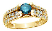 1 Ct Round Cut Blue Real Diamond Shank Fancy Engagement Ring In 14k Yellow Gold