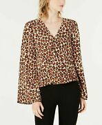 Bar Iii Womenand039s Leopard-print Surplice Bell-sleeve Top Fuzzy Chth Large