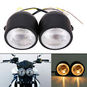 4 Twin Headlight Motorcycle Double Dual Lamp For Sport Street Fighter Universal