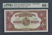 Tonga 4 Shillings Nd1941-66 P9s Specimen Uncirculated