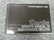 1976 Porsche 911 Turbo Carrera Coupe 930 Owner Owner's Manual User Guide