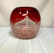 Durand Art Glass Peacock Feathering On Ruby Red And Clear Base Nice Vase
