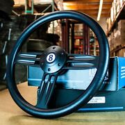 14 Black Double Barrel Steering Wheel Wtih 8-ball Horn Button And 1/2 Spacer