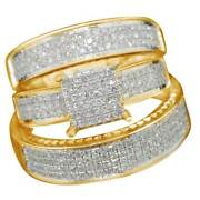 10k Yellow Gold His And Her Matching Wedding Engagement Ring Diamond Trio Set