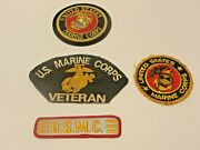 4 Vintage Us Marine Corps Usmc Embroidered Patches Veteran