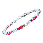 Round Cut Red Ruby And White Sapphir Infinity Bracelet Inn Sterling Silver