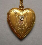 1930s Ll Co. 1/20 12k Gf On Sterling Sweetheart Heart Photo Locket And 18 Chain