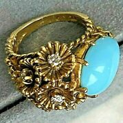 18k Yellow Gold Diamond Pear Turquoise Cabochon Vintage Cocktail Ring Asymmetric