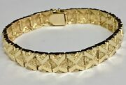 10kt Solid Yellow Gold Handmade Fashion Nugget Bracelet 11 Mm 47 Grams 10