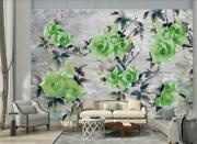 3d Green Rose Ceramic Tile Wall Mural Removable Self-adhesive Sticker