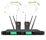 Dual Wireless Microphone Headset True Diversity Professional Stage Mic For Shure