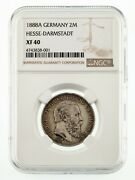 1888-a Germany Hesse-darmstadt 2 Mark Silver Coin Graded By Ngc As Xf40