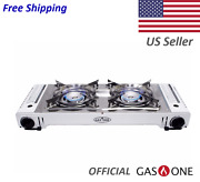 Double Burner Portable Propane Or Butane Camping Stove By Gas One New