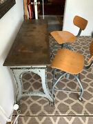 Industrial Steel Table W/drafting Chairs