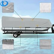 Boat Cover Waterproof Trailerable Pontoon Heavy Duty Fabric Gray 21 22 23 24ft
