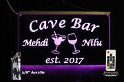 Personalized Led Man Cave Sign- Garage Sign Home Bar Sign Wine Glass