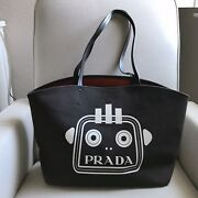 Authentic Prada Canvas Tote Bag With Attached Pouch Black Robot Print