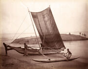 Vintage 1880-1890 Photograph Of An Outrigger Boat On The Beach, Ceylon