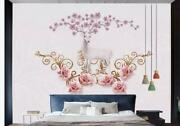 3d Ceramic Tile Elk Floral Relief Wall Mural Removable Self-adhesive Sticker