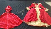 Disney Store Princess Costume Deluxe Halloween Belle Red Dress Up Cape Lot S 6
