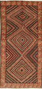 Modern Rug Bakhtiari Chess Design Geometric Hand-knotted Oriental Carpet 5and039 X 9and039