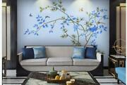 3d Hand Paint Blue Magnolia Bird Wall Mural Removable Self-adhesive Sticker