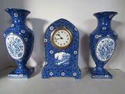 Antique Setof Dutch Faience Delft Blue And White Vases And Mantel Clock