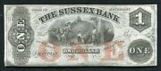 1800's 1 The Sussex Bank Newton, Nj Obsolete Remainder Uncirculated