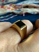 Heavy Vintage 14ct Solid Gold Onyx Signet Ring 70s/80s Wt 8.12gms Stampedandlsquo585andrsquo