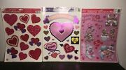 Vintage 1997 Beistle/classic Clings Foil Valentine's Day Window Decorations Lot