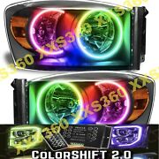 Oracle Halo 2x Black Headlights For Dodge Ram 07-08 Led Colorshift 2.0 W/ Remote