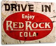 Red Rock Cola Soda Pop Drive Advertising Retro Wall Decor Large Metal Tin Sign