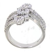 Solid 14k White Gold 1.28ct Real Natural Diamond Cocktail Floral Party Wear Ring