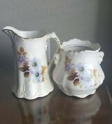 Vintage Cream White Pitcher And Sugar Bowl Blue Flowers Gold Trim House Of Webster