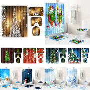 Pine Tree With Present Boxes Bath Shower Curtain Snowy Rustic Christmas Ornament