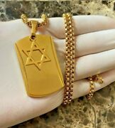 16-36men Stainless Steel 316l Dog Tag Star Of David Pendant Box Chain Necklace