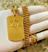 Men 316l Stainless Steel Cuban Necklace Silver Gold Star Of David Pendant 2024
