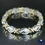 Natural 2.50 Ct Baguette Diamond Twisted Style Bracelet 14k White And Yellow Gold