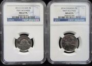 2014 Canada 5c And 25c Ngc Ms 67 Pl Proof Like First Releases Hard To Find Pair