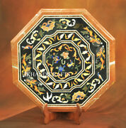 Marble Coffee Side Table Top Semi Precious Stones Inlaid Home Decor Size 25