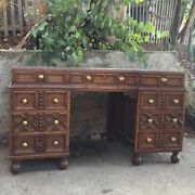Wylie Lochhead Antique Tiger Oak Leather Top Executive Desk England