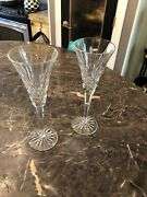 Authentic 2 Waterford Crystal Millennium Lismore Champagne Toasting Flutes