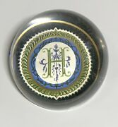 """Punch Studio Crystal """"h"""" Monogram Initial Dome Paperweight Made In France Rare"""