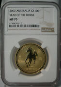 2002 Australia Lunar Year Of The Horse Ngc Ms70 Gold Coin 1oz .9999 Fine