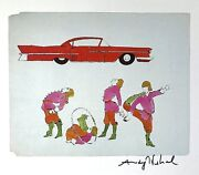 Andy Warhol Hand Signed Four Male Costumed Full Figures Print