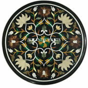 24 Black Marble Ancient Table Top Pietra Dura Marquetry Inlaid Work Home Decor
