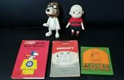 Vintage Peanuts Charlie Brown And Snoopy Figure Doll And Books Lot
